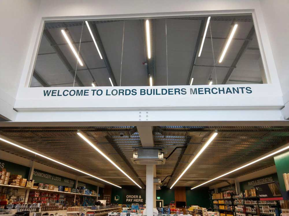 lords builders merchant shop front signs